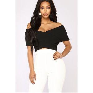 Fashion Nova Black Off the Shoulder Top